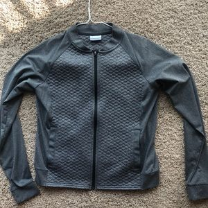 Quilted Columbia Performance Zip Up Gray Small